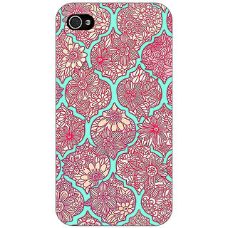 Jugaaduu Pink Morroccan Pattern Back Cover Case For Apple iPhone 4 - J10242