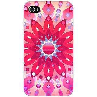 Jugaaduu Red Flower Pattern Back Cover Case For Apple iPhone 4 - J10256