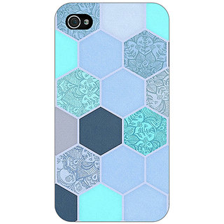 Jugaaduu Llight Blue Hexagons Pattern Back Cover Case For Apple iPhone 4 - J10272