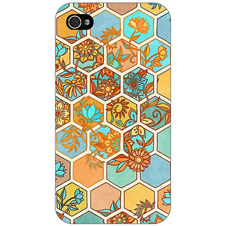 Jugaaduu Floral Hexagon Pattern Back Cover Case For Apple iPhone 4 - J10283