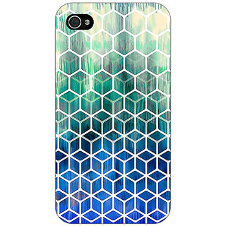Jugaaduu Blue Hexagon Pattern Back Cover Case For Apple iPhone 4 - J10285