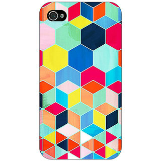 Jugaaduu Multicolour Hexagon Pattern Back Cover Case For Apple iPhone 4 - J10286