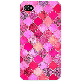 Jugaaduu Pink Moroccan Tiles Pattern Back Cover Case For Apple iPhone 4 - J10288