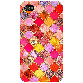 Jugaaduu Red Moroccan Tiles Pattern Back Cover Case For Apple iPhone 4 - J10289