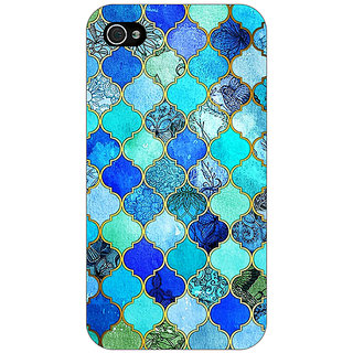 Jugaaduu Dark Blue Moroccan Tiles Pattern Back Cover Case For Apple iPhone 4 - J10290