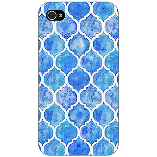 Jugaaduu White Blue Moroccan Tiles Pattern Back Cover Case For Apple iPhone 4 - J10296