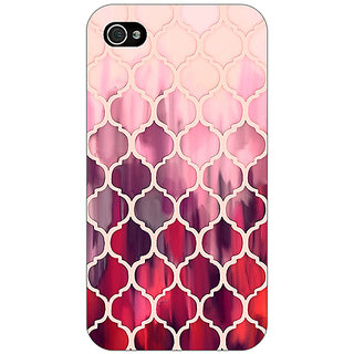 Jugaaduu White Red Moroccan Tiles Pattern Back Cover Case For Apple iPhone 4 - J10299