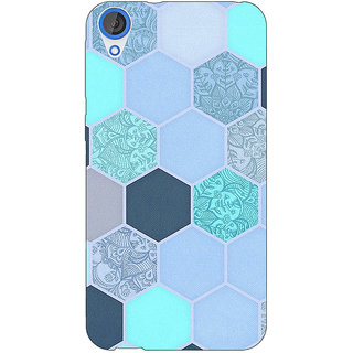 Jugaaduu Llight Blue Hexagons Pattern Back Cover Case For HTC Desire 820 - J280272
