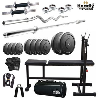 Headly 60Kg Efficient Home Gym + 14 Dumbbells + 2 Rods + 3 In 1 (I/D/F) Bench+ Gym Bag + Accessories