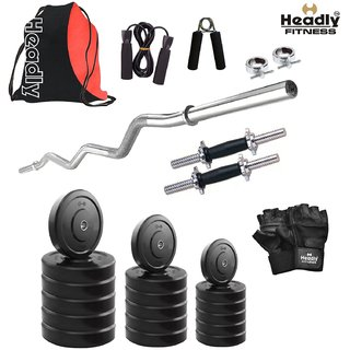 Headly 18 Kg Home Gym + 14 Dumbbells + Curl Rod + Gym Backpack Assorted + Accessories