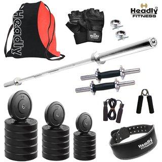 Headly 38 Kg Home Gym + 4 Feet Plain Rod (Shoulder/Bicep) + 14 Dumbbells + Gym Backpack Assorted + Gym Belt + Accessories