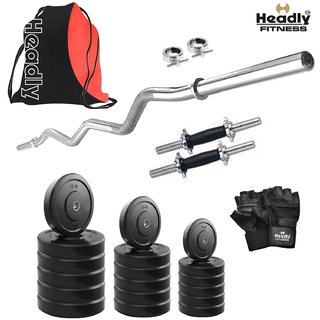 Headly 68 Kg Home Gym + 14 Dumbbells + Curl Rod + Gym Backpack Assorted + Accessories