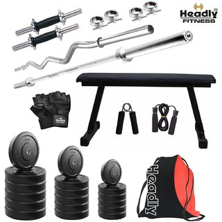 Headly 65 Kg Home Gym + 14 Dumbbells + 2 Rods + Flat Bench+ Gym Backpack Assorted + Accessories