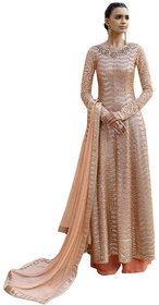 Naksh Creation Beige  Orange Colour Designer Anarkali Suit