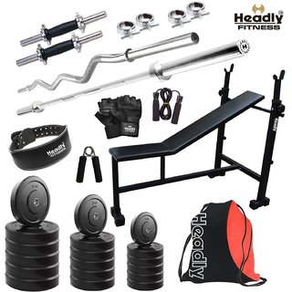 Headly 80 Kg Home Gym + 14 Dumbbells + 2 Rods + 3 In 1 (I/D/F) Bench+ Gym Backpack Assorted +Gym Belt + Accessories