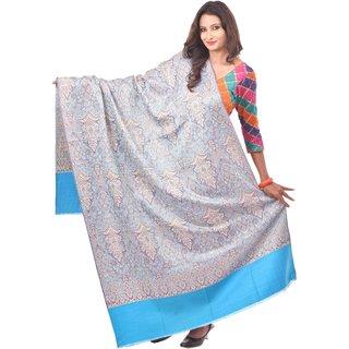 Weavers Villa Blue Woven Kashmiri Woolen Shawl WV342-BLUE