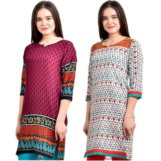 Gift Valley Exclusive Designer Kurti Set of 2 (GVCmb2-KRT6062-Prpl-6074-Orng)