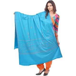 Weavers Villa Blue Embroided Kashmiri Woolen Shawls WV204-FEROZI