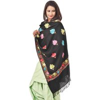 Weavers Villa Woolen Embroided Black Floral Shawl SK106-BLACK