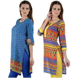 Gift Valley Exclusive Designer Kurti Set of 2 (GVCmb2-KRT6064-Sky-Blu-6067-Multi)