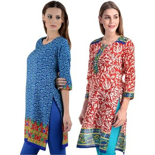 Gift Valley Exclusive Designer Kurti Set of 2 (GVCmb2-KRT6064-Sky-Blu-6071-Red-Trq)