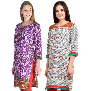 Gift Valley Exclusive Designer Kurti Set of 2 (GVCmb2-KRT6071-Prpl-Red-6074-Orng)