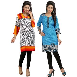 Gift Valley Exclusive Designer Kurti Set of 2 (GVCmb2-KRT6080-Orng-Wht-KRT6081-Firozi)