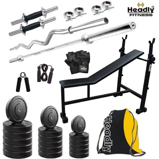 Headly 35 Kg Home Gym + 14 Dumbbells +3 In 1(I/D/F) Bench + 2 Rods + Gym Belt + Gym Backpack Assorted + Accessories