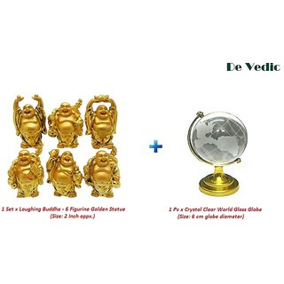 only4you Combo Set of 6 Figurine Laughing Buddha and Crystal World Glass Globe Feng Shui