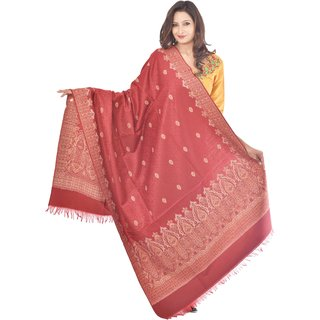 Weavers Villa Maroon Jamdani Kashmiri Shawls WV820-MAROON