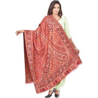 Weavers Villa Faux Pashmina Maroon Jamdani Shawls WV822-ORANGE