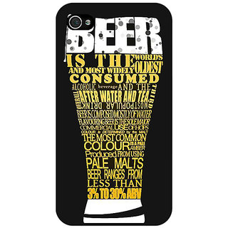 Jugaaduu Beer Quote Back Cover Case For Apple iPhone 4 - J11227