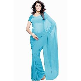 Khoobee Presents Plain Georgette Saree(Sky Blue)
