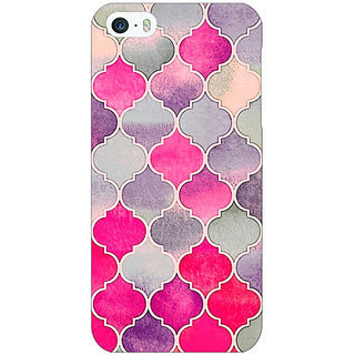 Jugaaduu Pink Grey Moroccan Tiles Pattern Back Cover Case For Apple iPhone 5c - J30293