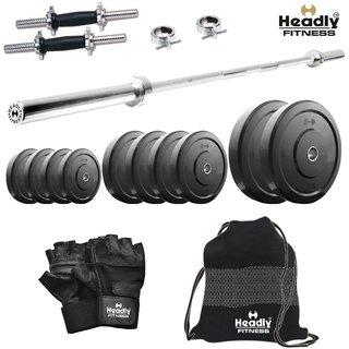 Headly 40 Kg Home Gym + 4 Feet Plain Rod (Shoulder/Bicep) + 14 Dumbbells + Gym Backpack + Accessories