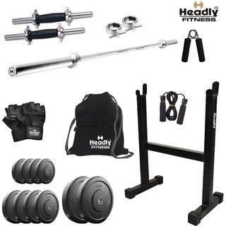 Headly 15 Kg Home Gym + 4 Feet Plain Rod (Shoulder/Bicep) + 14 Dumbbells + Rod Stand + Gym Backpack + Accessories