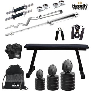 Headly 60Kg Convenient Home Gym + 14 Dumbbells + 2 Rods + Flat Bench+ Gym Backpack + Accessories