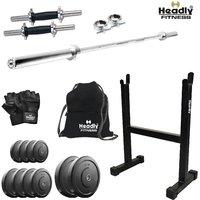 Headly 22 Kg Home Gym + 4 Feet Plain Rod (Shoulder/Bicep) + 14 Dumbbells + Rod Stand + Gym Backpack + Accessories