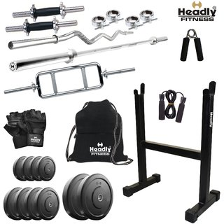 Headly 45Kg Home Gym + 14 Dumbbells + 3 Rods + Rod Stand + Gym Backpack + Accessories