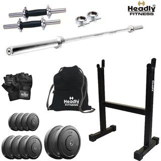 8ad1ed497c5 Headly 40 Kg Home Gym + 4 Feet Plain Rod (Shoulder Bicep) + 14 Dumbbells +  Rod Stand + Gym Backpack + Accessories