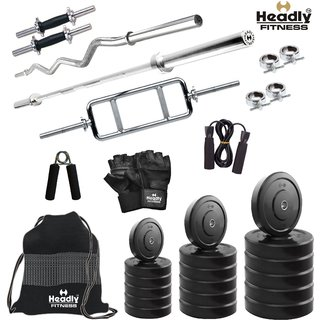 Headly 68Kg Convenient Home Gym + 14 Dumbbells + 3 Rods + Gym Backpack + Accessories