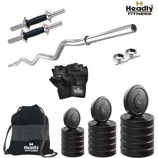 Headly 32Kg Convenient Home Gym + 14 Dumbbells +Curl Rod + Gym Backpack + Accessories