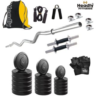 Headly 58 Kg Home Gym + 14 Dumbbells + Curl Rod + Gym Backpack Assorted + Accessories