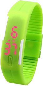 Jelly Slim Men Women Unisex Green LED Digital Casual Bracelet Band Led Watch