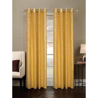 Rosara Bracken Polycotton Yellow Printed Eyelet Curtain