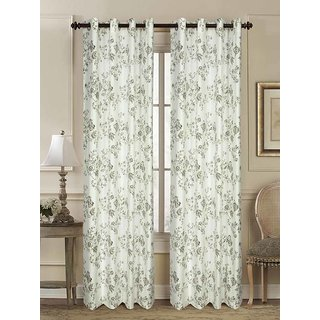 Rosara Summer Floral Cotton Beige Printed Eyelet Curtain Set Of 10