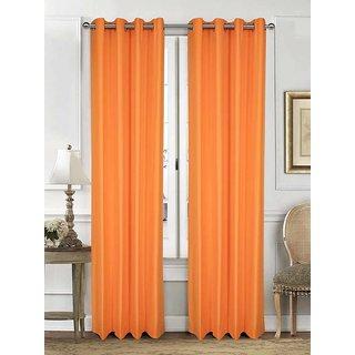 Rosara Langdale Cotton Orange Woven Eyelet Curtain Set Of 5