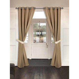 Rosara Langdale Cotton Brown Woven Eyelet Curtain Set Of 9