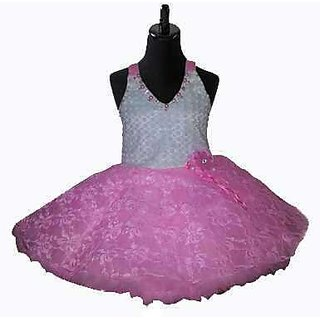 Party Wear Baby Frock In Light Pink Colour