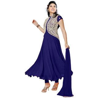 vaस्tra Georgette Embroidered Semi-stitched Salwar Suit Dupatta Material (Blue)